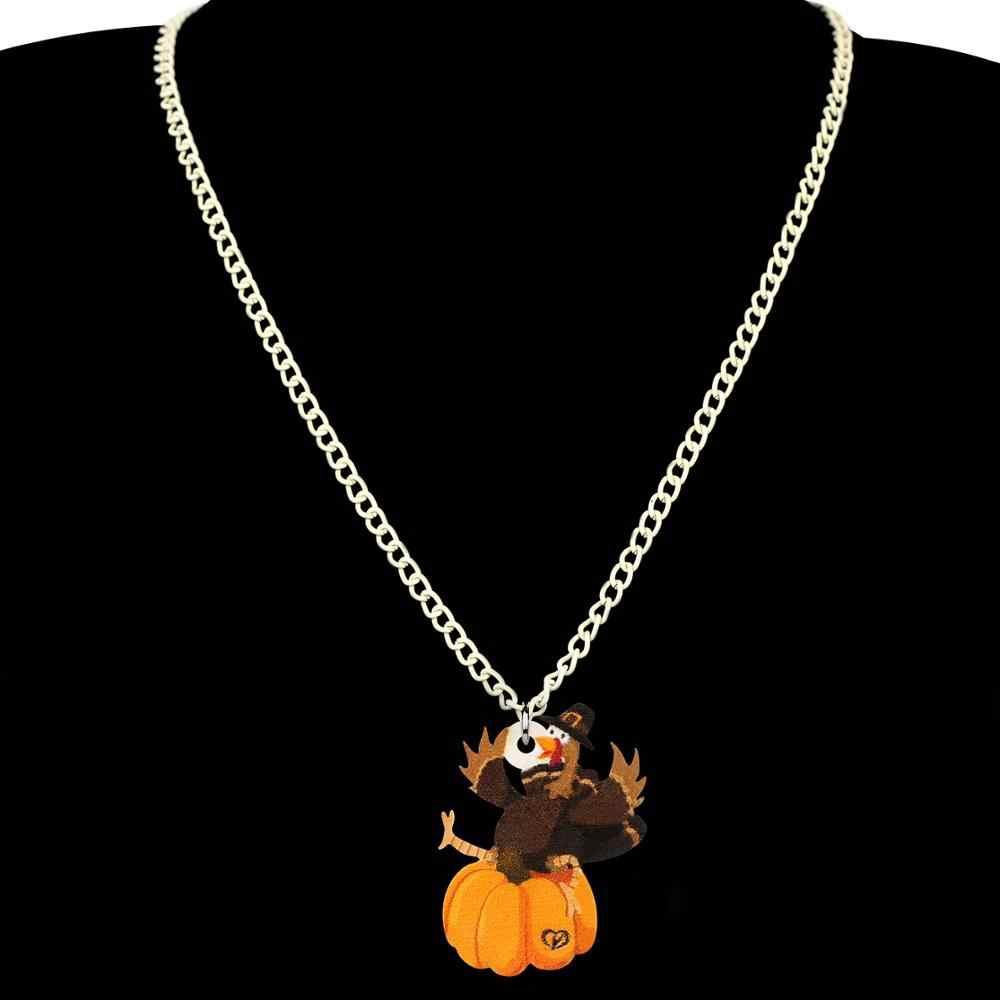 Bonsny acrílico ação de graças anime peru frango abóbora jóias conjunto colar brincos para mulheres menina adolescente garoto decorações presente