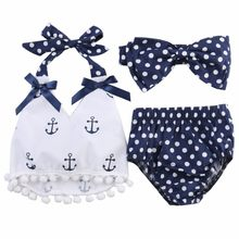 Newborn Infant Low Price Baby Girls Clothing Suit Dots Cotton Sleeveless Beach Clothes Outfit Babys Newborn Infant Clothes(China)