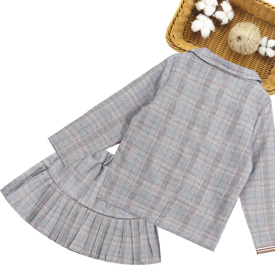 Meisjes Pak Set Plaid Blaze + Rok Pak Voor Meisjes Casua Kids Kleding Meisjes Lente Herfst Kinderen School Kostuum