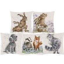 Детские животные кролик лиса собака кошка подушка-Жираф чехол ручная роспись животные льняная наволочка для дивана украшения