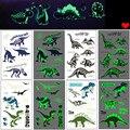 Светящиеся Детские наклейки-татуировки, милые динозавры, Русалочка, светящиеся наклейки, временные на лицо, руки, ноги для детей, боди-арт, д...
