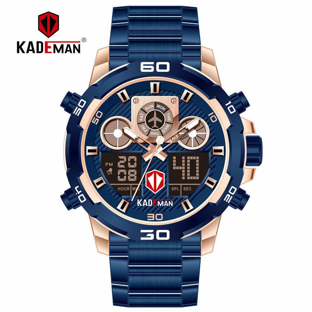 KADEMAN hommes montre plein acier sport montres numériques imperméable marque de luxe LED montres à Quartz mâle Relogio Masculino