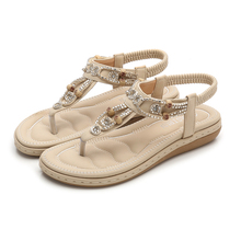 Ladies Sandals Fashion Bohemian Solid Flat Summer Women Shoes Casual Beach Shoes Ethnic Flat Women Sandals BlacK Ladies Shoes bohemian sandals for women wedge shoes crystal decoration grey army green shoes ladies cute casual shoes rhinestone sandals