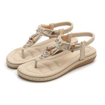 Ladies Sandals Fashion Bohemian Solid Flat Summer Women Shoes Casual Beach Shoes Ethnic Flat Women Sandals BlacK Ladies Shoes