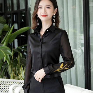 Image 4 - Professional Satin Shirt Women 2019 New Autumn Fashion Embroidered Long Sleeve Slim Blouses Office Ladies Work Tops