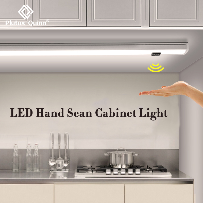 2020 Smart Ultra-thin 7mm LED Hand Scan Under Cabinet Light 30/40/50 Cm Kitchen Closet Wardrobe Infrared Sensor Light