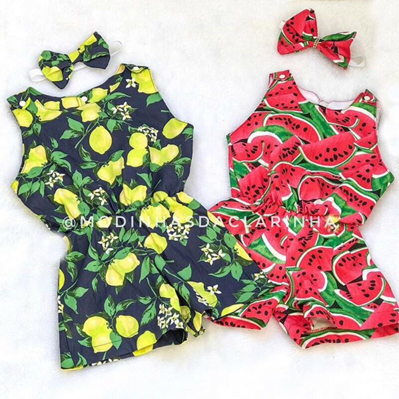 Pudcoco Toddler Baby Girl Clothes Sleeveless Fruit Print Romper Jumpsuit Headband 2Pcs Outfits Sunsuit Clothes Summer