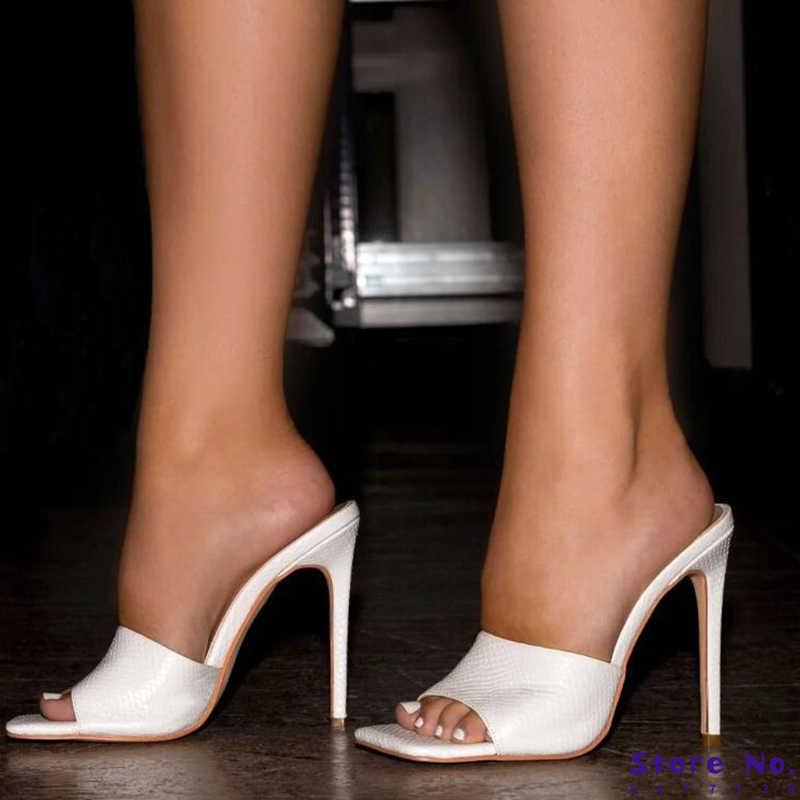 Women/'s Crystal Open Toe Haut Talons Aiguilles Talon Slipper Chaussures Sandales À Enfiler Mules