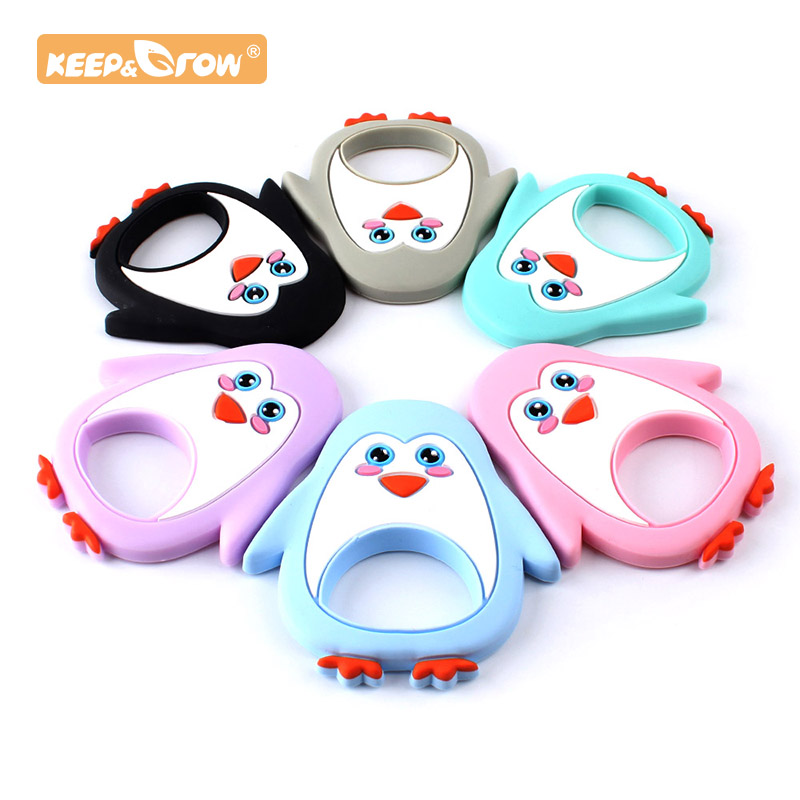 Keep&Grow 1pc Penguin Silicone Baby Teether Cartoon Animal Mordedor BPA Free Rodents Teething Necklace