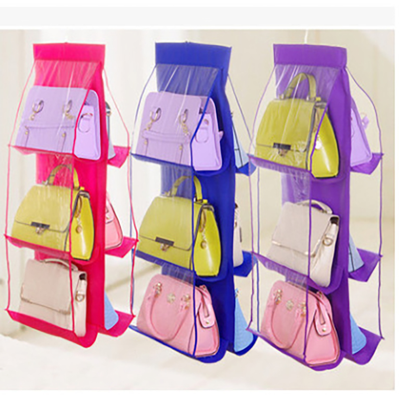 6 Grids Foldable Hanging purse bags Organizer for Wardrobe Closet Clothing Underwear Bras Socks Ties Hanger Storage Bag