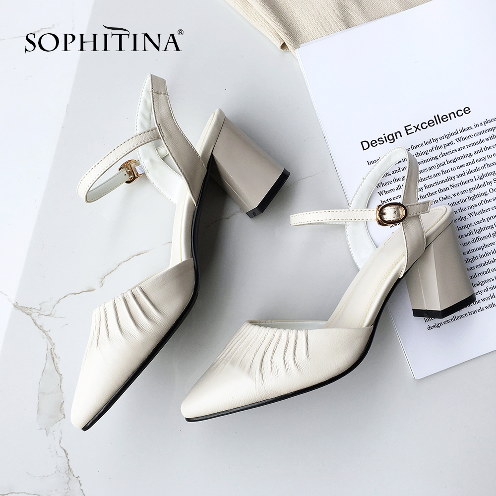 SOPHITINA Mature Women Sandals Ankle Strap Pleated Design High Quality Sheepskin Square Heel Shoes Fashion Buckle Sandals SO418