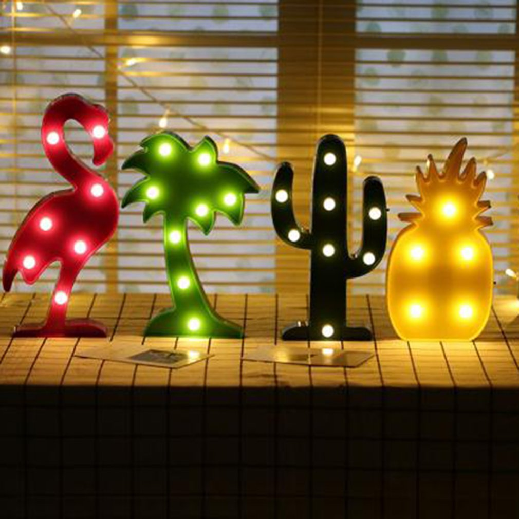 3D Desk Lamp LED Night Light For Indoor  Home Party Bedroom Decoration Flamingo Pineapple Cactus Christmas Tree