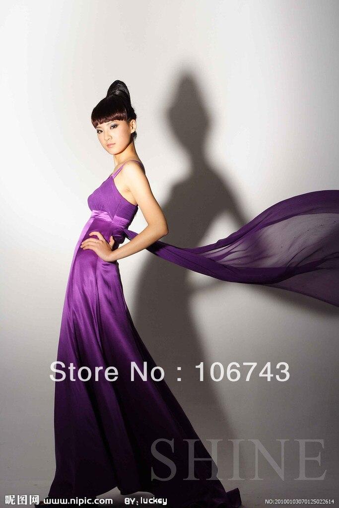 Free Shipping 2016 New Fashion Purple Long Design Vestido De Festa Formal Stain Elegant Party Bridesmaid Dresses Bridal Gown