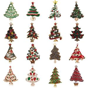 Wholesale Vintage Multicolor Crystal Christmas Tree Brooches Man Women's Full Rhinestone Brooch Pins Fashion Jewelry Xmas Gift