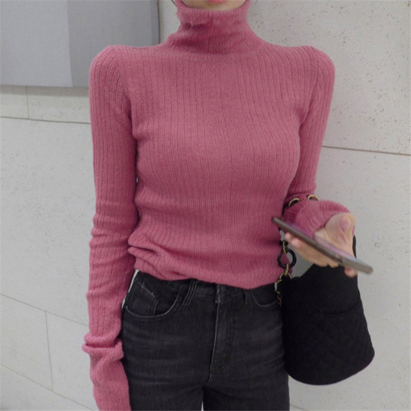 HziriP Chic Women Brief Turtleneck Slimming Knitted Jumpers Soft High Street 2020 Elegant Women Pullovers Basic Sweaters 3 Types
