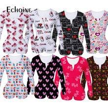 Echoine kadınlar seksi V boyun yetişkin Onesies tulum pijama sevgililer günü şort kollu Bodycon Bodysuit pijama tulum pantolon