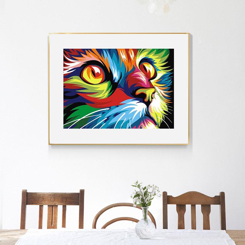 DIY 5D Diamond Painting Colorful Animal Set Lion Cat Cross stitch Kit Mosaic Art Picture of Rhinestones Diamond Embroidery Decor 3