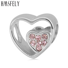 HMSFELY European Big Hole Closer Hearts Beads Stainless Steel Charm Bead Accessories Fit Women Charms Bracelets Jewelry Making
