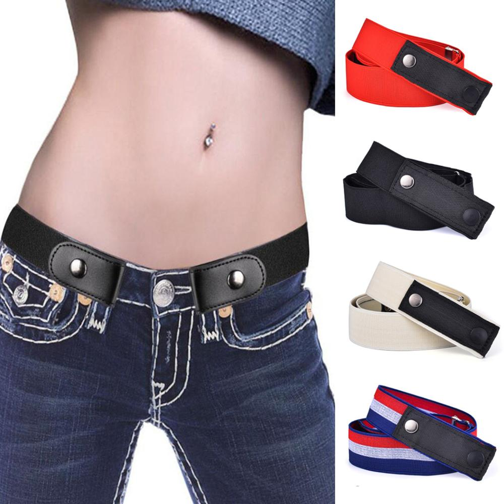 New Elastic Jeans Leather Canvas Belt Without Buckle Waistband No Buckle Free Stretch Waist Belts For Women Men Cinturon 2019