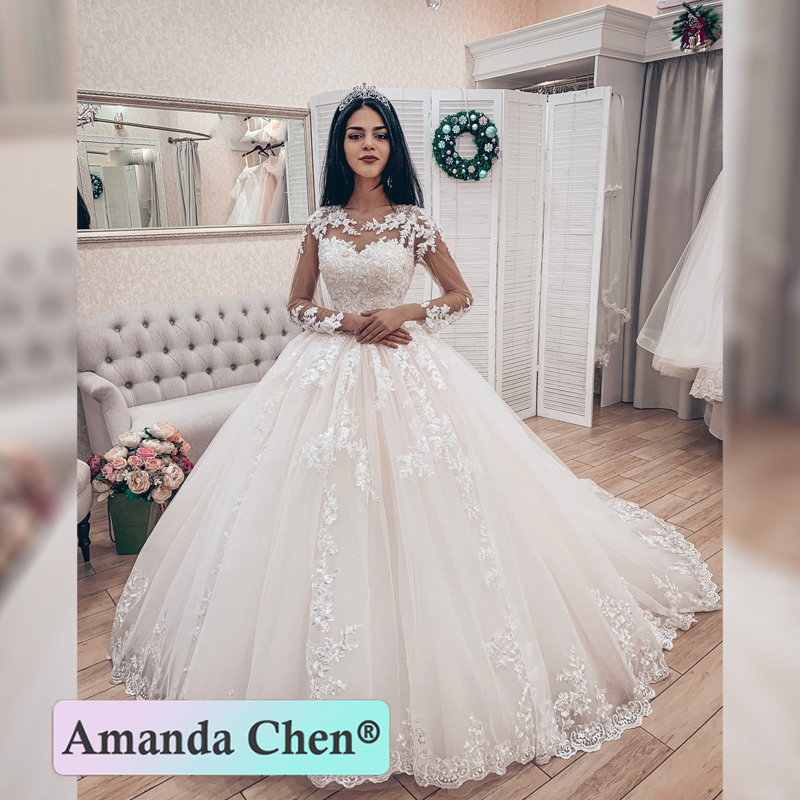 Long Sleeve Lace Ball Gown Wedding Dress 2019 New