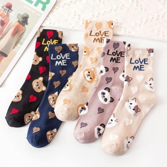 Spring Cute Girl Cartoon Puppy Cotton Socks Love Me Jacquard Tube Socks Korean Retro Skateboard Women Socks Panda