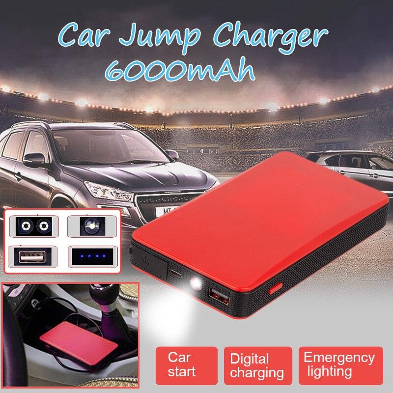 Multi-function Mini Portable Power Bank 6000mAh Car Start Power 12V Car Battery Jump Starter Auto Jumper Engine Starting