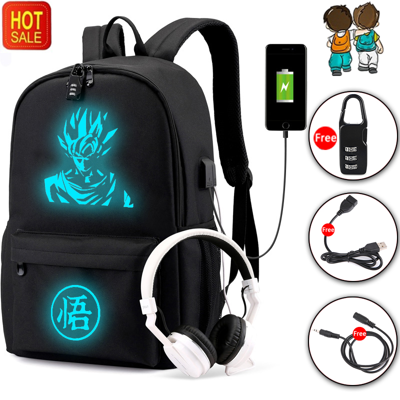 BPZMD Dragon Ball Backpack Ultra Instinct Goku Z Luminous Backpack Casual School Bags Teenager Boys Girls Teenager Mochila Bolsa