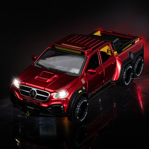 1:28 Diecast BenzX-Class EXY 6X6 Pickup Metal Toy Car Model Pull Back Car Sound Light Collection Kids Gifts Free Shipping