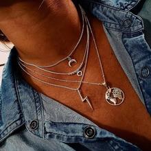 Modyle 4 unids/set cadena Vintage pendiente multicapas collar de cadena larga mujeres color plata collar conjunto Simple día de San Valentín