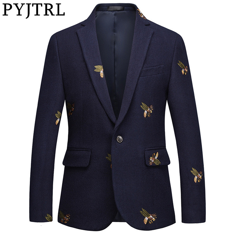 PYJTRL Mens Fashion Autumn Winter Quality Luxurious Bee Embroidery Woolen Blazer Wedding Prom Singers Blazers Costume