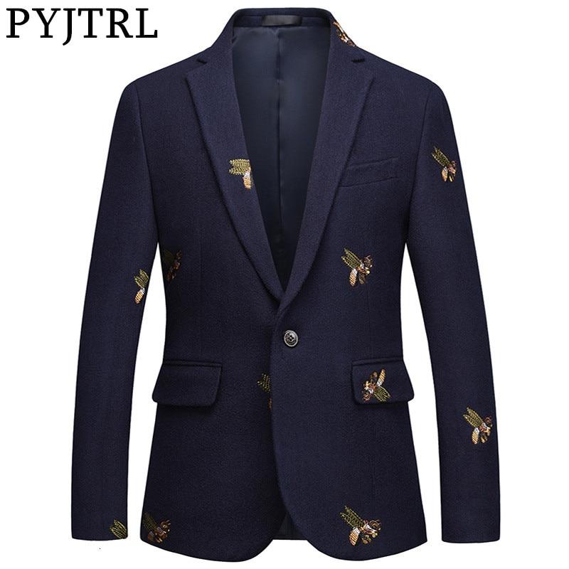 PYJTRL Mens Fashion Autumn Winter Quality Luxurious Bee Embroidery Woolen Blazer Wedding Prom Singers Blazers Costume