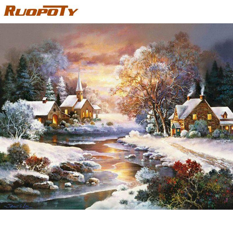 RUOPOTY фотографии по номерам наборы для детей Рождество закат зимой пейзаж живопись по номеру обрамление домашний Декор стены художественное...