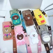 Cute Animal Wristband Wallet Phone Case For iPhone X XR XS Max 8 7 6 Coin Purse Totoro Scrub Matte Stander Cases TPU Back Cover