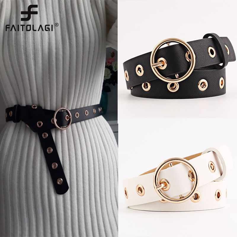 Round Ring Buckle Waist Belt Solid PU Leather Waistband for Men Women Black