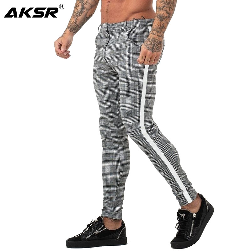 Mens Chinos Slim Fit Men Skinny Chino Pants Streetwear Super Comfy Stretch Pants For Men Plaid Side Stripe Pant Pantalone Hombre