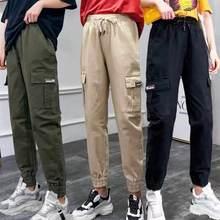Брюки карго женские уличные брюки корейский стиль высокая талия