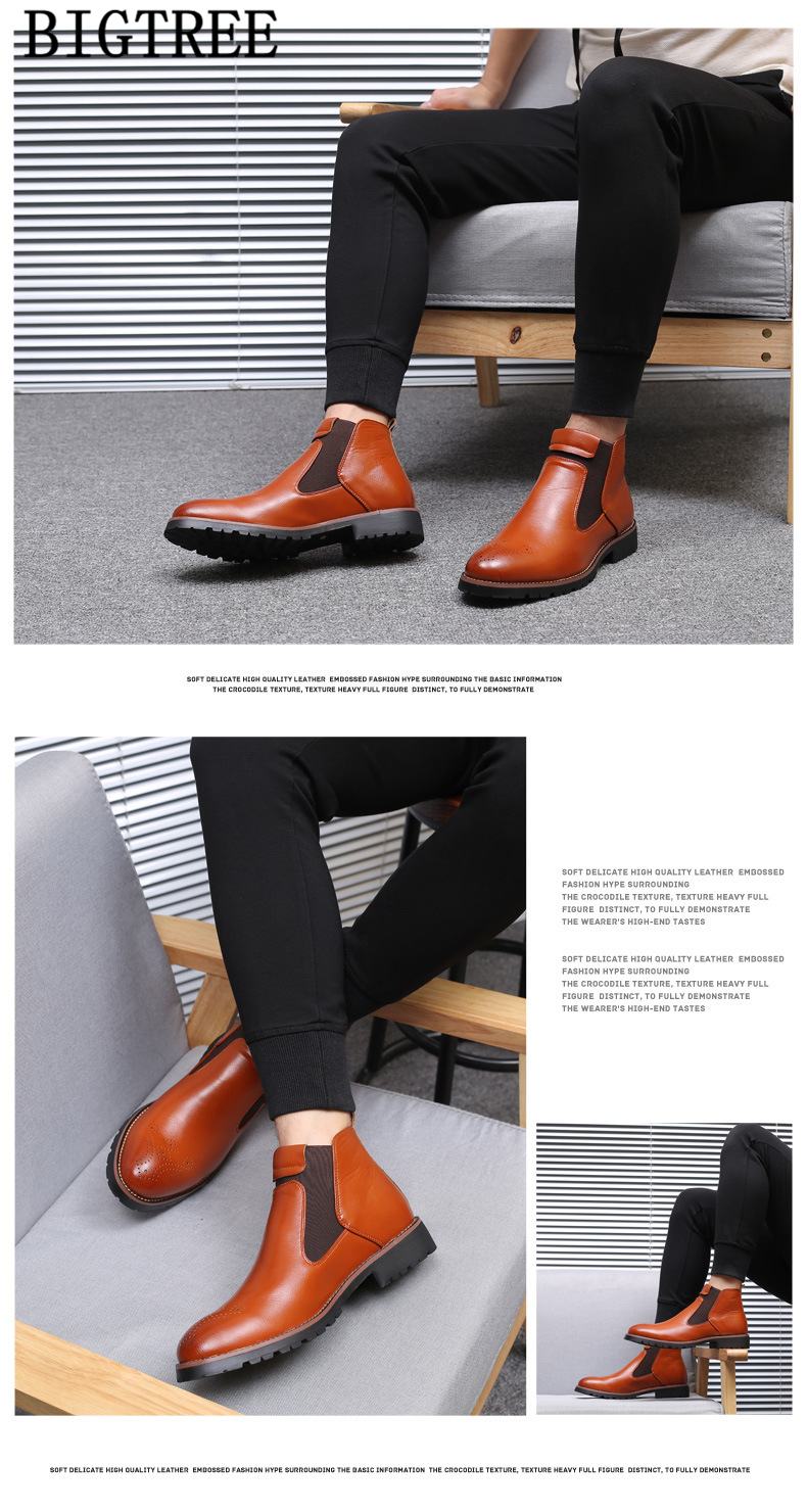 Couro Homens Botas Homens Botas Hombre Zapatos