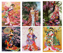 Fezrgea 5D DIY Diamond Painting Kimono Girl Cartoon Embroidery Decorative Home Furnishing decoration
