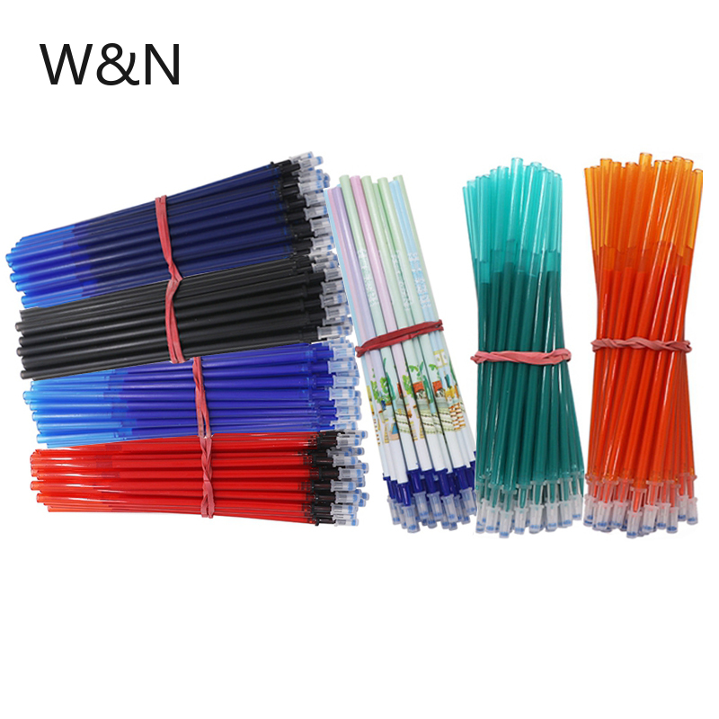 10/20Pcs/lot 0.5mm Erasable Pen Refill Rod Erasable Washable Handle Blue Black Green Orange Ink School Office Writing Stationery