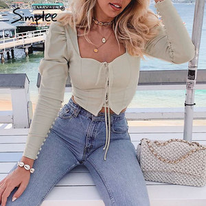 Simplee solid puff vintage summer women blouse shirts beach casual sexy femme blouses ladies button lace up retro blouse