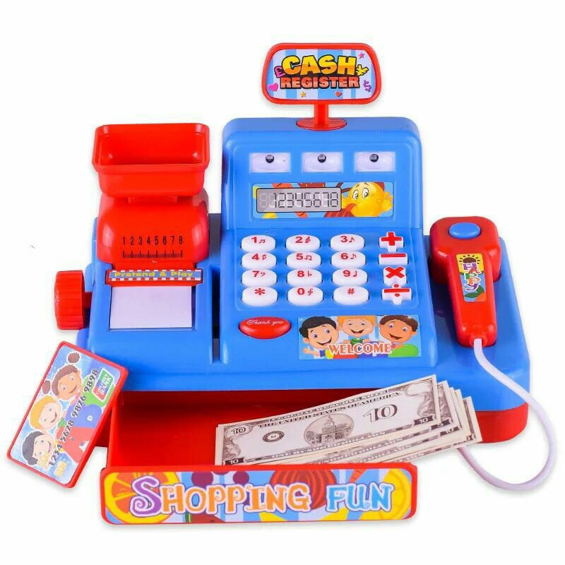 Intelligence For Children Multifunctional Simulation Supermarket Cash Register Toy Get Married Music Cashier With Lights