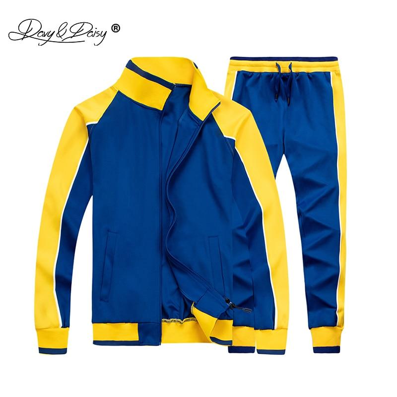 Men Casual Patchwork Tracksuit Zipper Hoodie Men's Brand Spring Autumn Sportswear Sweatshirt+Sweatpants 2 Piece Sets MT003