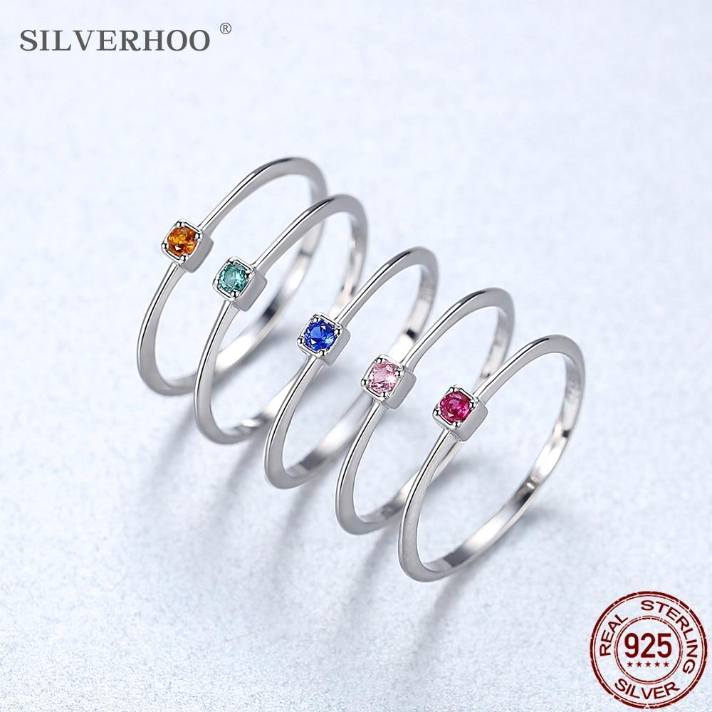 SILVERHOO Genuine 925 Sterling Silver Women's Wedding Ring Minimalist Thin Circle Zircon Ring 2020 New Jewelry Gift To Friends