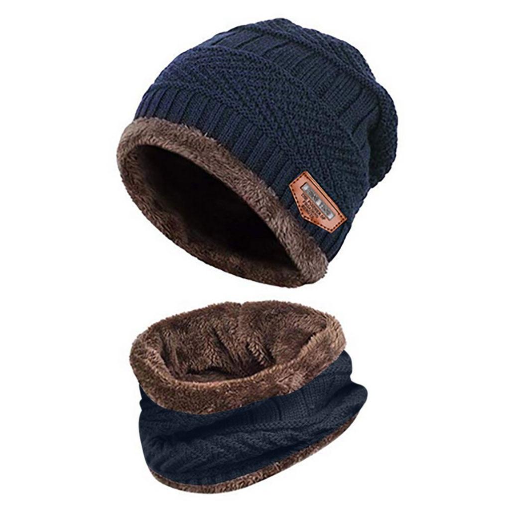 Мужская теплая шапка Skullies+ мягкий шарф, комплект из двух предметов, зимняя утолщенная шапка, Мужская ветрозащитная вязаная шапка, грелка для шеи# T5P - Цвет: Navy