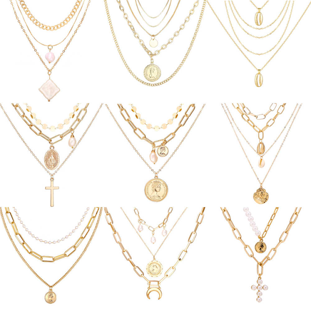 17KM Vintage oro retrato de moneda perla colgante collares para mujeres Bohemia moda Muklltilayer perla collar largo 2019 joyería