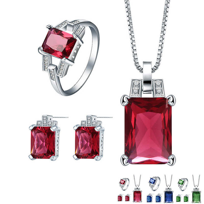 Fashion Silver Jewelry Sets for Women Red Blue Crystal Pendant Necklace Stud Earrings Ring Sets Party Jewelry 3pcs Sets