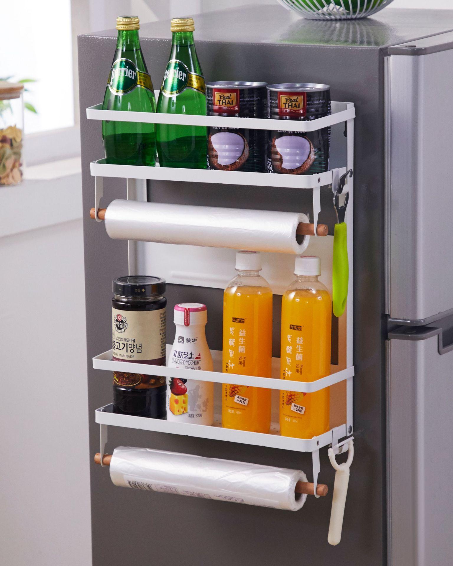 Multifunctional Magnetic Suction Refrigerator Beverage 5-layer Folding Storage Rack Kitchen Supplies