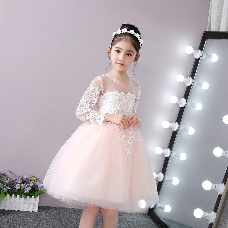 Girl'S Gown Long Sleeve Princess Dress Flower Boys/Flower Girls Wedding Dress Tutu Piano Performance Children Long Tailing Forma