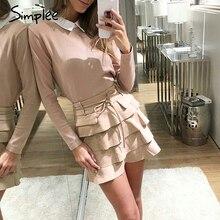 женская оранжевая мини юбка Simplee, сексуальная юбка А силуэта с высокой талией с оборками для осени/зимы, повседневная юбка с бантом и пояском