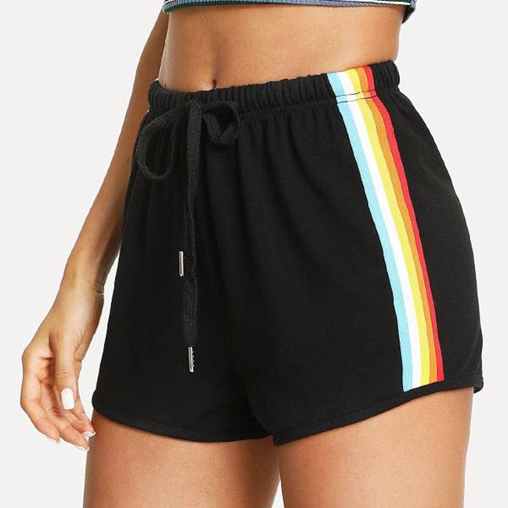 Shorts Side-Drawstring-Shorts Elastic-Waist Mid-Waist-Sporting Black Striped Summer Women title=